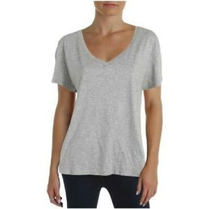 Nation LTD Womens Gray Distressed V-Neck